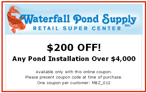 Special pond and waterfall installation discounts waterfall pond supply Discount pond supply